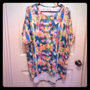 LulaRoe M short sleeve multicolor tunic top